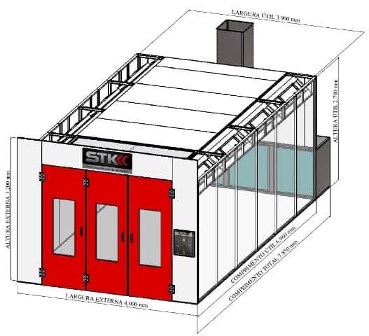 Dimensões da cabine de pintura automotiva STK Pratik