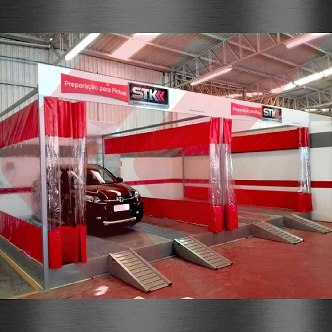 area de preparação para veículos com base metálica