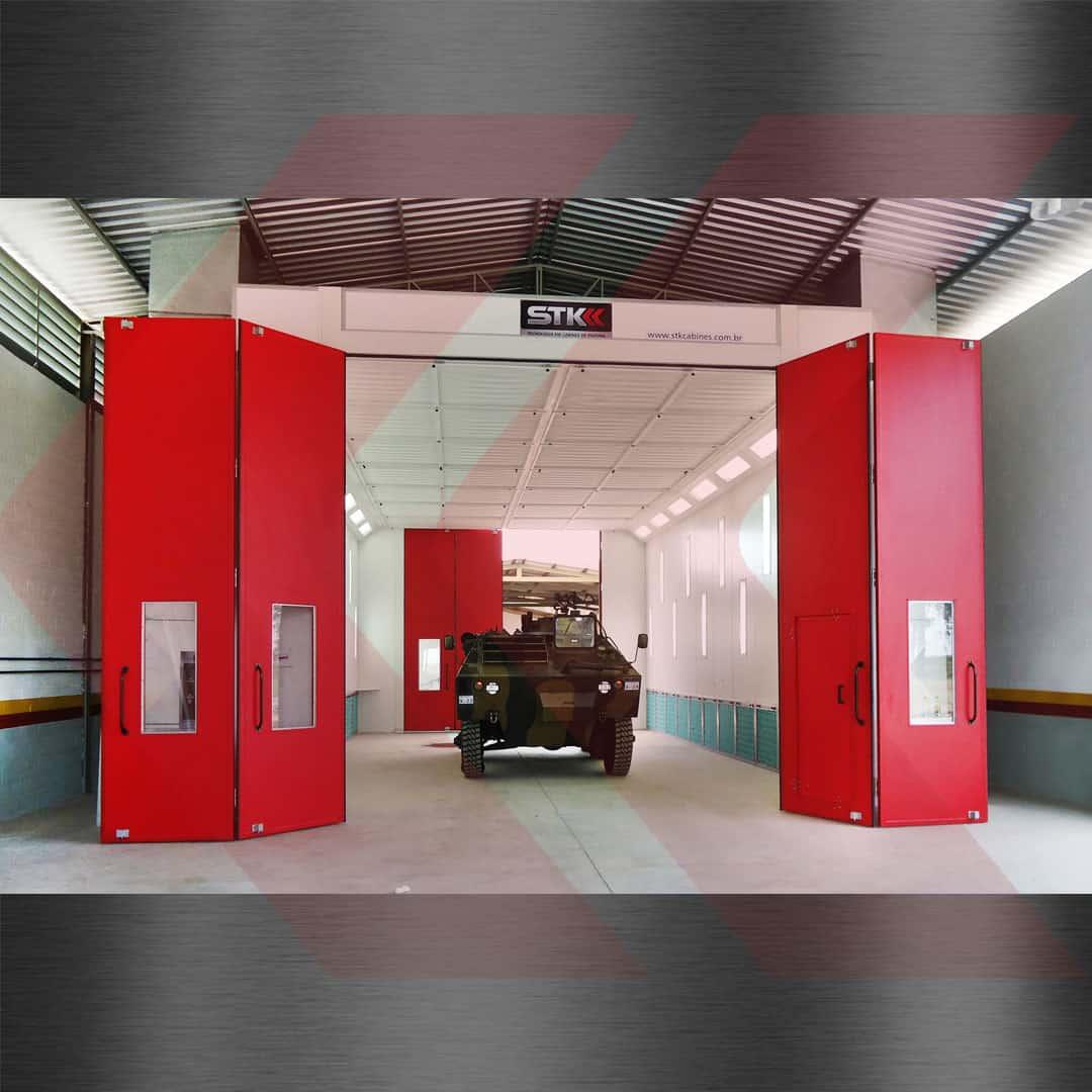 cabine de pintura para blindados do exercito brasileiro