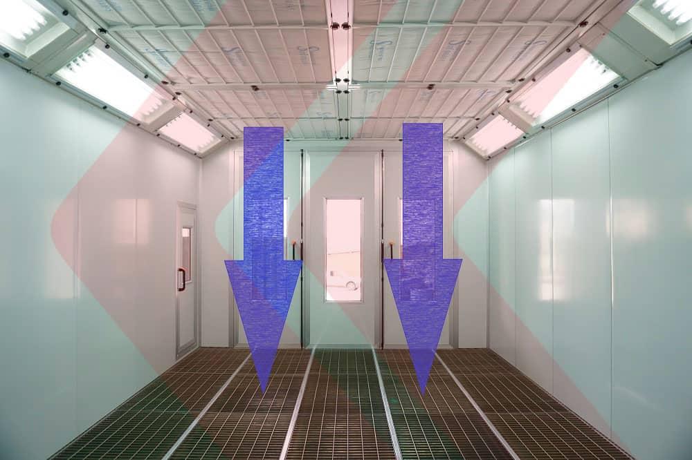 fluxo de ar em direção ao piso gradeado