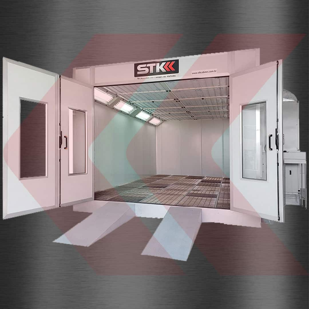 estufa de pintura base metálica piso totalmente gradeado