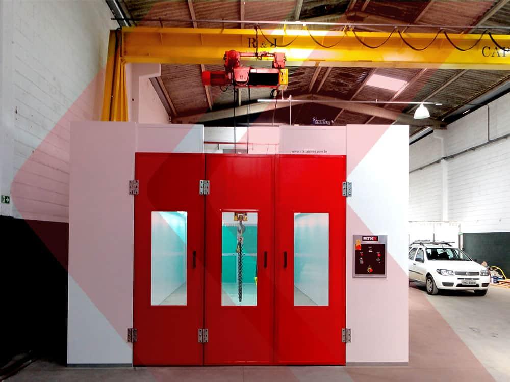 cabine de pintura pressão negativa industrial
