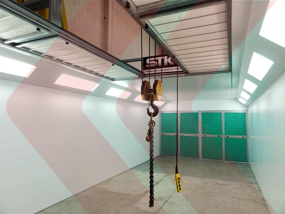 cabine de pintura industrial com ponte rolante pressão negativa